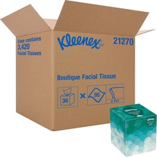 "Kleenex Upright Box Facial Tissue - 8.62"" x 8.43"" - White - 95 Sheets Per Box - 36 / Carton"