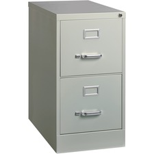 """Lorell Vertical file - 15"""" x 25"""" x 28.4"""" - 2 x Drawer(s) for File - Letter - Vertical - Security Lock, Ball-bearing Suspension, Heavy Duty - Light Gray - Steel - Recycled"""