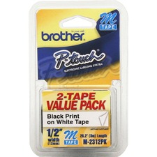 BRT M2312PK Brother P-touch Nonlaminated M Tape Value Pack BRTM2312PK