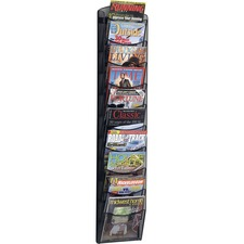 "Safco 10-pocket Onyx Mesh Literature Rack - 10 Pocket(s) - 50.8"" Height x 10.3"" Width x 3.5"" Depth - Wall Mountable - Black - Steel - 1 / Each"