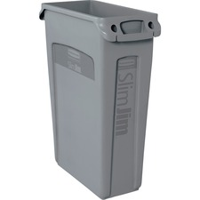 """Rubbermaid Commercial Venting Slim Jim Waste Container - 23 gal Capacity - Rectangular - 30"""" Height x 11"""" Width x 22"""" Depth - Gray"""