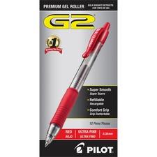 Pilot G2 Ultra Fine Retractable Pens - Ultra Fine Pen Point - 0.38 mm Pen Point Size - Refillable - Red Gel-based Ink - Clear Barrel - 12 / Dozen