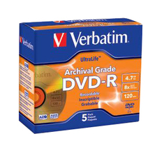 Verbatim UltraLife Gold 8x DVD-R Media, 5 Pack