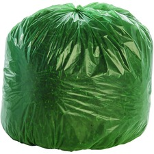 "Stout Controlled Life-Cycle Plastic Trash Bags - 33 gal - 33"" Width x 40"" Length x 1.10 mil (28 Micron) Thickness - Green - 40/Carton - Office Waste"