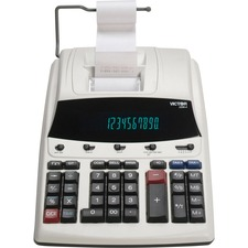 """Victor 1230-4 12 Digit Commercial Printing Calculator - Dual Color Print - Dot Matrix - 4 lps - Big Display, Clock, Date, Calendar - 0.67"""" - 12 Digits - Fluorescent - AC Supply Powered - 2.8"""" x 8.5"""" x 12.3"""" - White - 1 Each"""