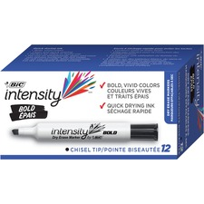 BIC Great Erase Bold Color Dry Erase Markers - Chisel Marker Point Style - Black - 1 Dozen