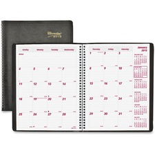 RED CB1262BLK Brownline Essential Collection 14-Month Ruled Monthly Planner REDCB1262BLK