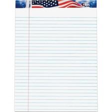 "Tops American Pride Writing Pad - 50 Sheet - 16lb - 8.5\"" x 11.75\"" - 12 / Pack - White Media"