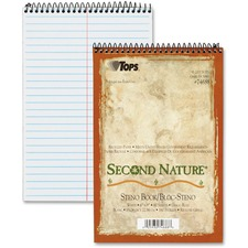 """TOPS Second Nature Spiral Reporter/Steno Notebook - 80 Sheets - Wire Bound - 15 lb Basis Weight - 6"""" x 9"""" - 0.3"""" x 6""""9"""" - White Paper - Earth Tone Cover - SBS Board Cover - Acid-free, Easy Peel, Environmentally Friendly - Recycled - 1Each"""