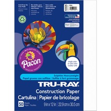 "Tru-Ray Construction Paper - 9\"" x 12\"" - White"