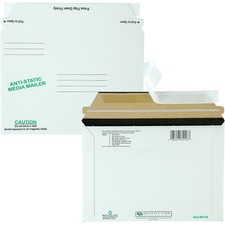 "Quality Park 64126 Disk Mailer - CD/DVD - 6"" x 8.62"" - Self-sealing - Fiberboard - 25/Box - White"