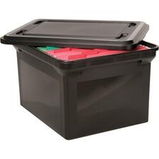 Advantus File Tote with Lid - Letter, Legal - Plastic - Black