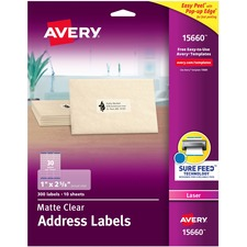 AVE 15660 Avery Easy Peel Clear Address Mailing Labels AVE15660