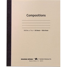 ROA 77340 Roaring Spring Wide Ruled 20-sheet Compositn Book ROA77340