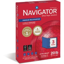"Soporcel Navigator Premium 3-Hole Punched Multipurpose Paper - Letter - 8.50"" x 11"" - 20 lb - 3 x Hole Punched - 97 Brightness - 10 / Carton - White"