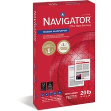 "Soporcel Navigator Premium Multipurpose Paper - Legal - 8.50"" x 14"" - 20 lb - 97 Brightness - 10 / Carton - White"