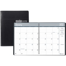 "House of Doolittle Monthly Planner - Monthly - 8.5"" x 11\"" - December till January - 1 Month Per 2 Page(s) - Leather Cover - Black, White"