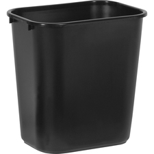 "Rubbermaid Commercial Standard Series Wastebaskets - 7 gal Capacity - Rectangular - 15"" Height x 14.1"" Width x 10.3"" Depth - Plastic - Black"