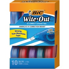 "BIC Wite-Out Correction Tape - 0.06"" Width x 400\"" Length - 1 Line(s) - White Tape - Odorless, Tear Resistant, Photo-safe - 10 / Box"