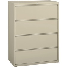 "Lorell Lateral File - 42.0"" x 18.6"" x 52.5"" - 4 x File Drawer(s) - Legal, Letter, A4 - Rust Proof, Leveling Glide, Interlocking, Ball-bearing Suspension, Label Holder - Putty"