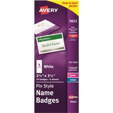 AVE 74652 Avery Pin Style Name Badges AVE74652