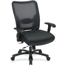 OSP 7547A773 Office Star Executive Mesh Big and Tall Lthr Chair OSP7547A773