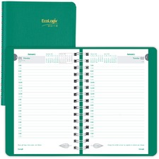 RED CB410WGRN Brownline EcoLogix Recycled Daily Planner With Timed Appointments REDCB410WGRN