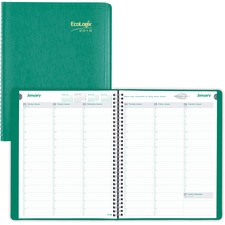 RED CB425WGRN Brownline EcoLogix Recycled Weekly Planner With Timed Appointments REDCB425WGRN