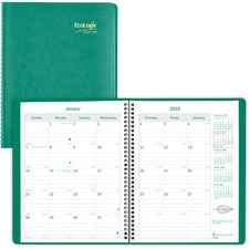RED CB435WGRN Rediform Ecologix 14-month Monthly Planner REDCB435WGRN