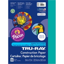 "Tru-Ray Construction Paper - 12"" x 9"" - 76 lb Basis Weight - 50 / Pack - Turquoise - Sulphite"