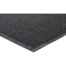 "Genuine Joe WaterGuard Indoor/Outdoor Mats - Carpeted Floor, Hard Floor, Indoor, Outdoor - 72"" Length x 48"" Width - Rubber, Polypropylene - Charcoal Gray"