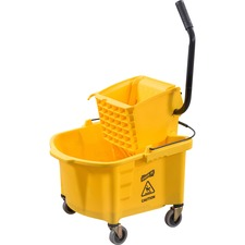 Genuine Joe Splash Guard Mop Bucket/Wringer - 26 quart - Black, Yellow