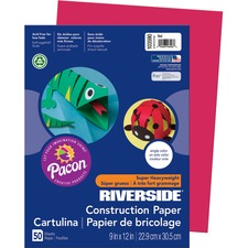 "Riverside Construction Paper - Multipurpose - 12"" x 9"" - 50 / Pack - Red - Paper"