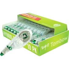 "Tombow Mono Hybrid-Style Correction Tape - 0.16"" Width x 32.83 ft Length - 1 Line(s) - White Tape - Ergonomic - Acid-free, Non-refillable, Retractable, Pivoting Head - 10 / Pack - White"