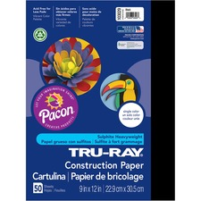 "Tru-Ray Construction Paper - 12"" x 9"" - 50 / Pack - Black - Sulphite"