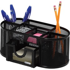 "Rolodex Mesh Oval Pencil Cup9.33"" x 4.5\"" - 4 Compartment(s) - Steel - Black"