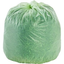 "Stout EcoSafe Compostable Trash Bags - 13 gal - 24"" Width x 30"" Length x 0.85 mil (22 Micron) Thickness - Green - 45/Carton"