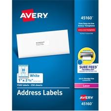 AVE 45160 Avery Easy Peel White Address Laser Labels AVE45160