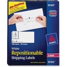 AVE 55163 Avery Repositionable Laser Mailing Labels AVE55163