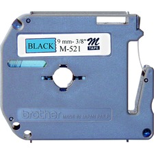 "Brother M521 3/8"" Black on Blue Metallic Tape"