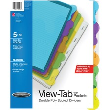 WLJ 55082 Acco/Wilson Jones 5-Tab Transparent Sub. Dividers WLJ55082