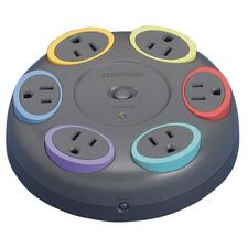 KMW 62634 Kensington SmartSockets Color-Coded Six-Outlet Tabletop Surge Protector KMW62634