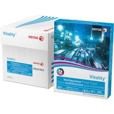 """Xerox Vitality Inkjet Print Copy & Multipurpose Paper - Letter - 8 1/2"""" x 11"""" - 20 lb Basis Weight - 0% Recycled Content - 92 Brightness - 5000 / Carton - White"""