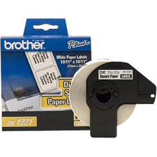 "Brother DK1221 10/11"" x 10/11"" Square Paper Microscope Slide Labels, 1000 Labels"