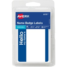 AVE 06175 Avery Border Print/Write Hello Name Badge Labels  AVE06175