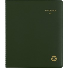 "At-A-Glance 100% PCW Monthly Planner - Yes - Monthly - 1.1 Year - January 2020 till January 2021 - 1 Month Double Page Layout - 9"" x 11"" - Wire Bound - Desktop - Green - Paper, Simulated Leather - Address Directory, Phone Directory, Perforated, Non-refillable"