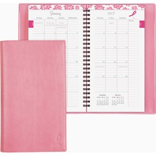 DTM 11219 Day-Timer Pink Ribbon 2PPM Slim Mthly Planner DTM11219