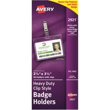 Avery Landscape Badge Holder with Clip - AVE 2921