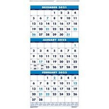 HOD 3640 Doolittle Three-month Vertical Wall Calendar HOD3640