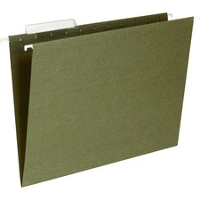 "Business Source Standard Hanging File Folder - Letter - 8.5"" x 11\"" - 1/3 Tab Cut - 25 / Box - 11pt. - Green"